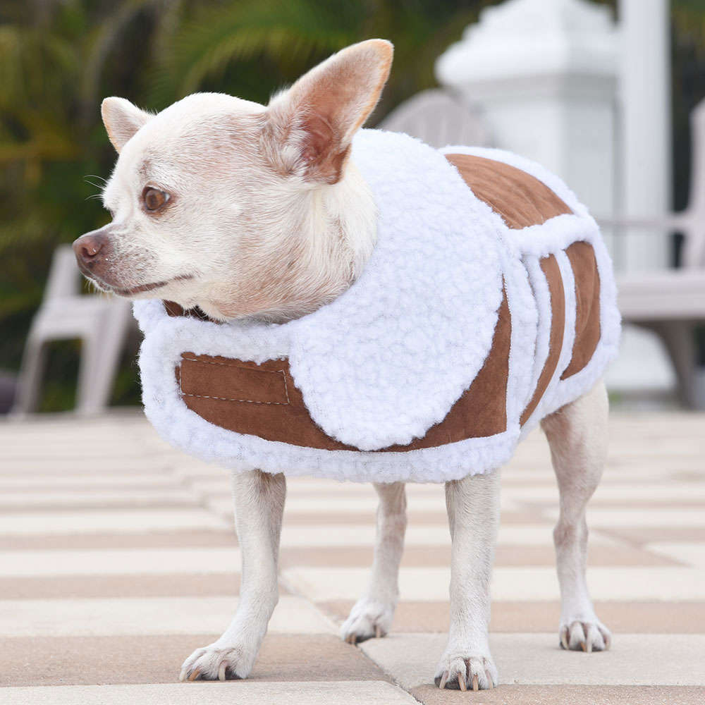 Stylish Sherpa Vest For Small Dogs Coffee Or Almond S