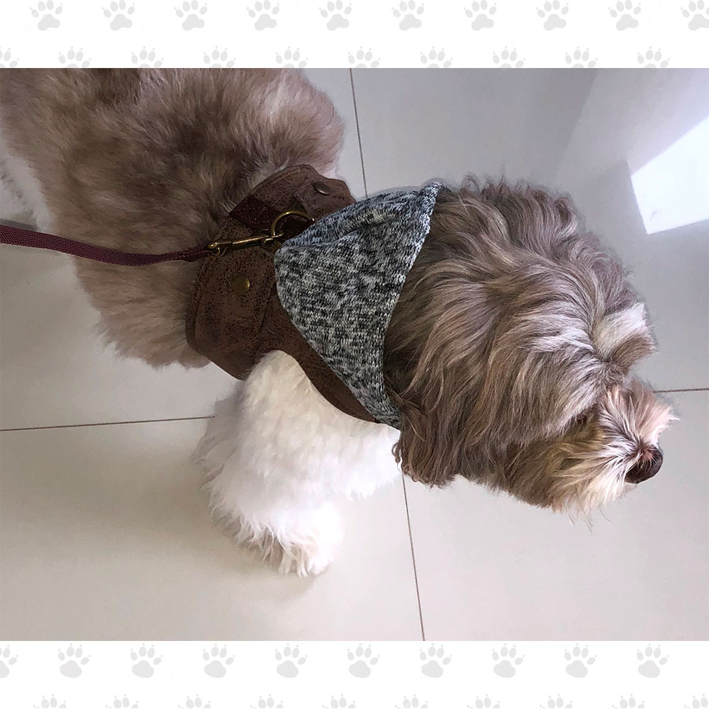 Leather Look Harness Vest With Knitted Hood And Matching